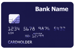 A sample credit card is shown here.